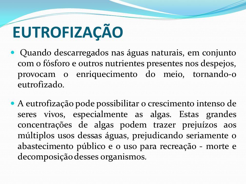 EUTROFIZAÇÃO Quando descarregados nas águas naturais, em conjunto com o fósforo e outros nutrientes presentes nos despejos, provocam o enriquecimento