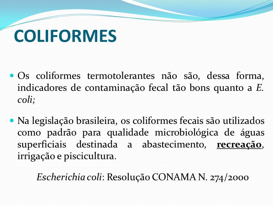 Os coliformes termotolerantes não são, dessa forma, indicadores de contaminação fecal tão bons quanto a E. coli; Na legislação brasileira, os coliform