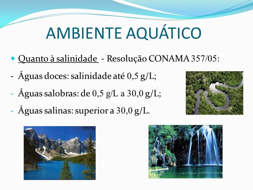 Quanto à salinidade - Resolução CONAMA 357/05 : - Águas doces: salinidade até 0,5 g/L; - Águas salobras: de 0,5 g/L a 30,0 g/L; - Águas salinas: super
