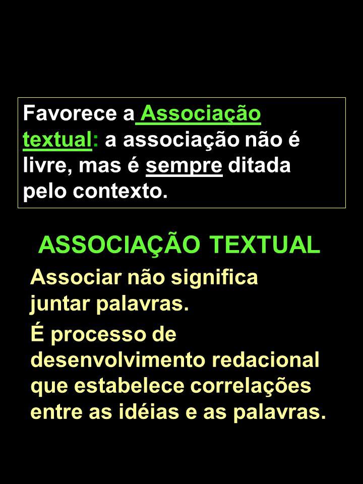 Marta/FEB5 Favorece a Associação textual: a associação não é livre, mas é sempre ditada pelo contexto. ASSOCIAÇÃO TEXTUAL Associar não significa junta