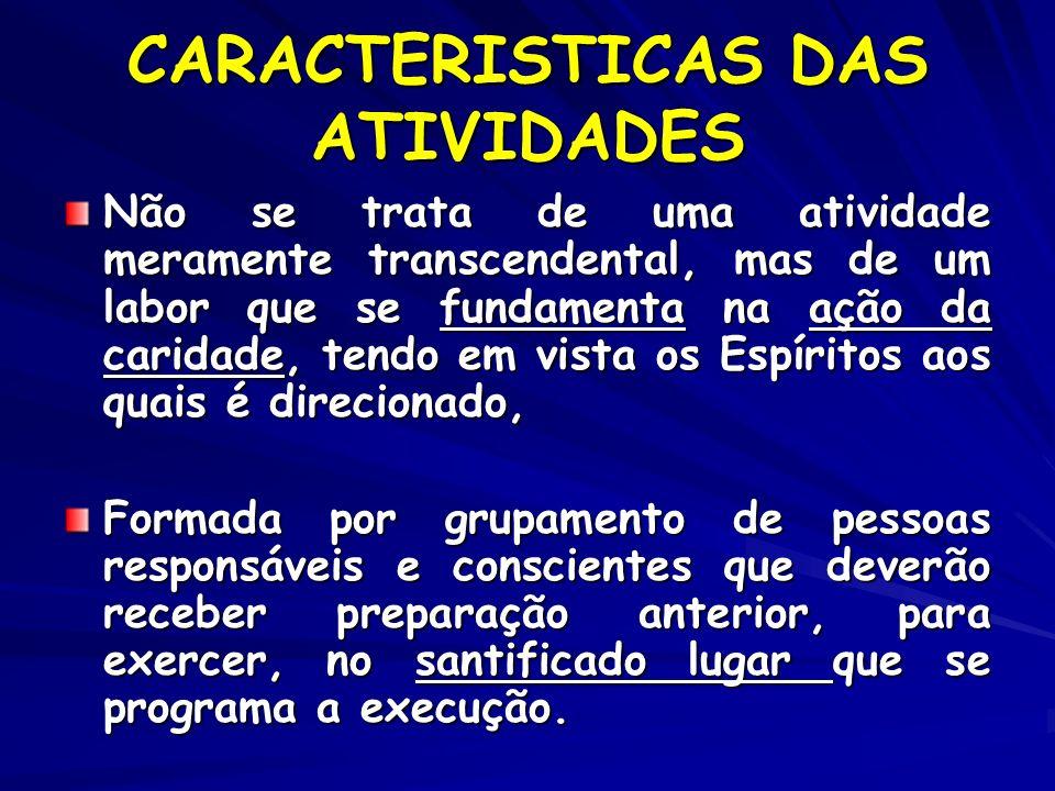 CARACTERISTICAS DAS ATIVIDADES Não se trata de uma atividade meramente transcendental, mas de um labor que se fundamenta na ação da caridade, tendo em