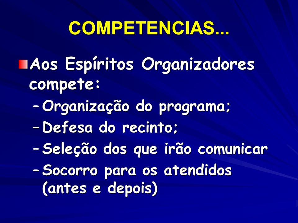 COMPETENCIAS... Aos Espíritos Organizadores compete: –Organização do programa; –Defesa do recinto; –Seleção dos que irão comunicar –Socorro para os at