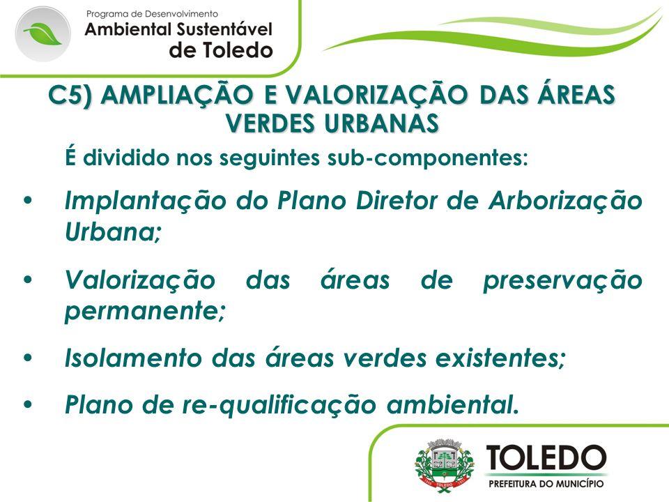 C5) AMPLIAÇÃO E VALORIZAÇÃO DAS ÁREAS VERDES URBANAS É dividido nos seguintes sub-componentes: Implantação do Plano Diretor de Arborização Urbana; Val