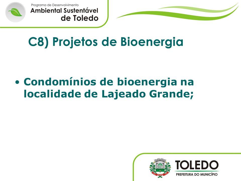 Condomínios de bioenergia na localidade de Lajeado Grande; C8) Projetos de Bioenergia