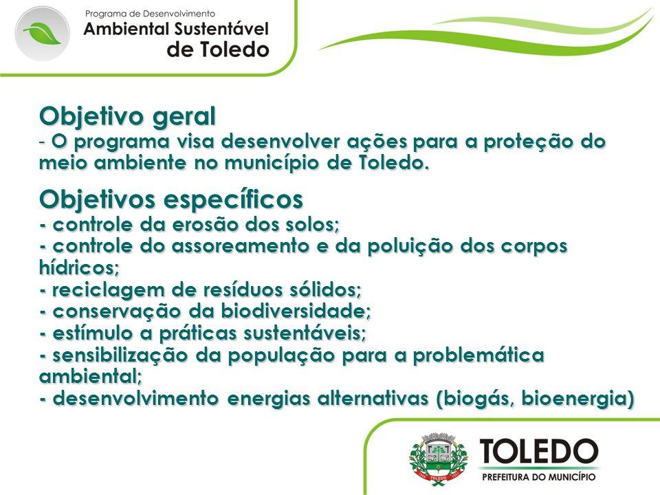 Objetivo geral - O programa visa desenvolver ações para a proteção do meio ambiente no município de Toledo. Objetivos específicos - controle da erosão