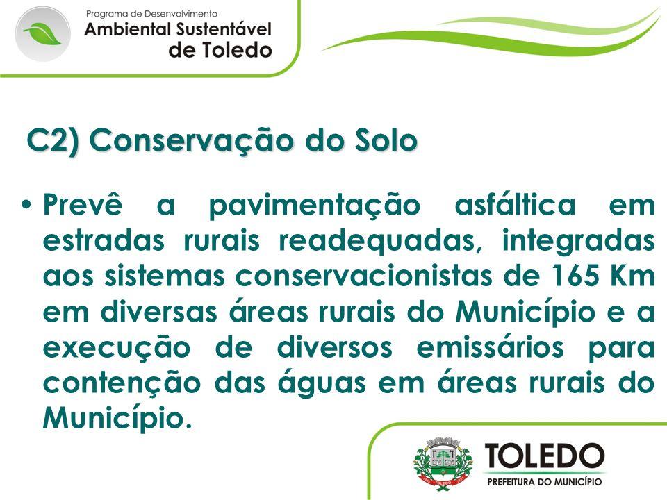 C2) Conservação do Solo Prevê a pavimentação asfáltica em estradas rurais readequadas, integradas aos sistemas conservacionistas de 165 Km em diversas