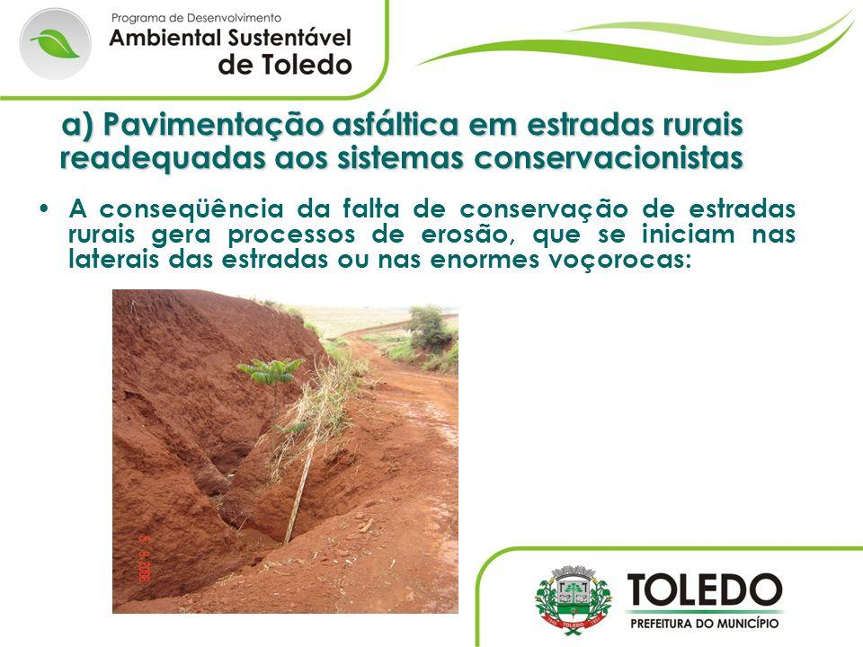 a) Pavimentação asfáltica em estradas rurais readequadas aos sistemas conservacionistas A conseqüência da falta de conservação de estradas rurais gera