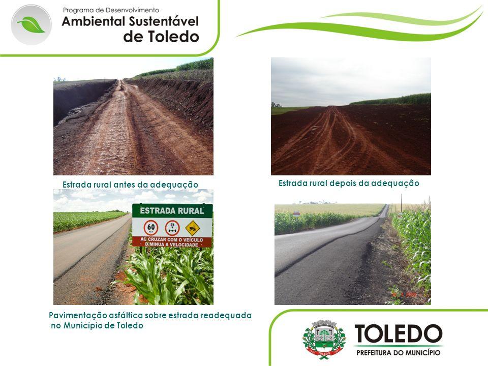 Estrada rural antes da adequação Estrada rural depois da adequação Pavimentação asfáltica sobre estrada readequada no Município de Toledo