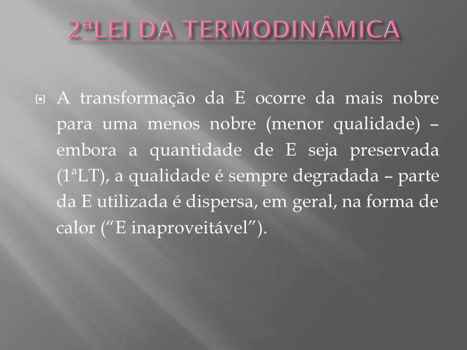A transformação da E ocorre da mais nobre para uma menos nobre (menor qualidade) – embora a quantidade de E seja preservada (1ªLT), a qualidade é semp