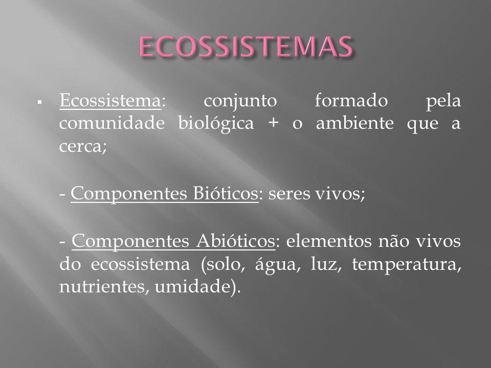 Ecossistema: conjunto formado pela comunidade biológica + o ambiente que a cerca; - Componentes Bióticos: seres vivos; - Componentes Abióticos: elemen