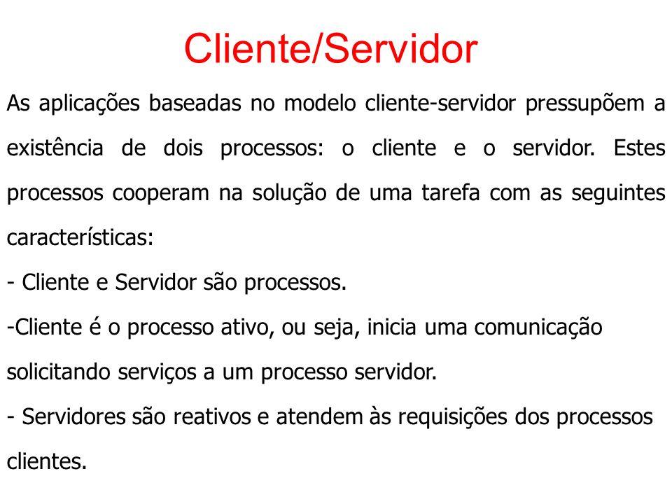 Cliente/Servidor As aplicações baseadas no modelo cliente-servidor pressupõem a existência de dois processos: o cliente e o servidor. Estes processos
