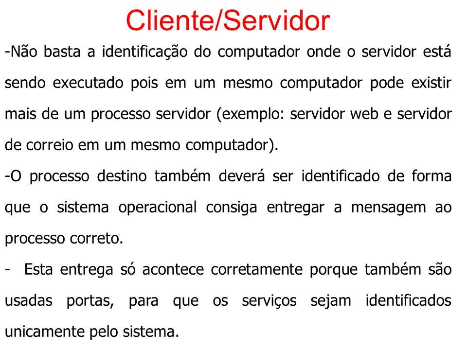 Cliente/Servidor -Não basta a identificação do computador onde o servidor está sendo executado pois em um mesmo computador pode existir mais de um pro