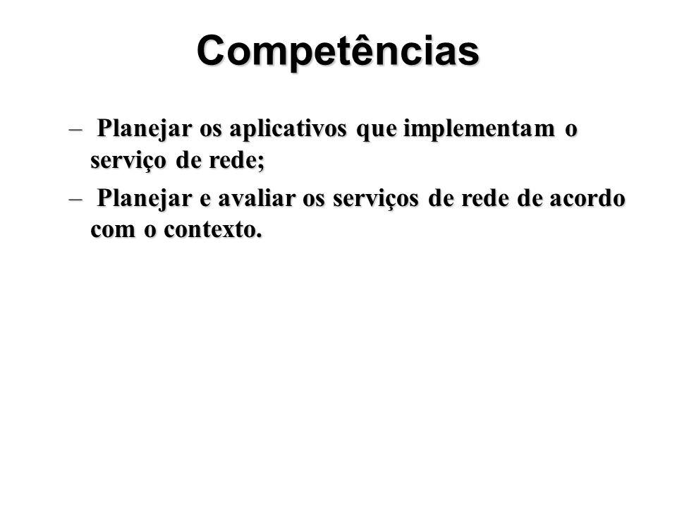 Competências – Planejar os aplicativos que implementam o serviço de rede; – Planejar e avaliar os serviços de rede de acordo com o contexto.