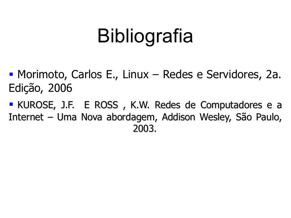 Bibliografia Morimoto, Carlos E., Linux – Redes e Servidores, 2a. Edição, 2006 KUROSE, J.F. E ROSS, K.W. Redes de Computadores e a Internet – Uma Nova