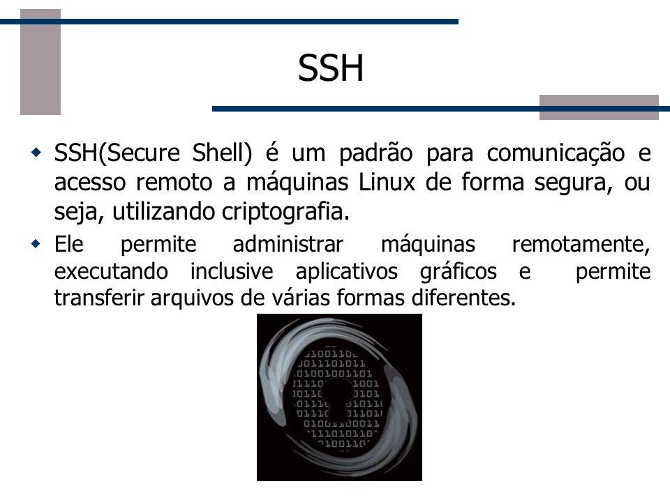 SSH SSH(Secure Shell) é um padrão para comunicação e acesso remoto a máquinas Linux de forma segura, ou seja, utilizando criptografia.
