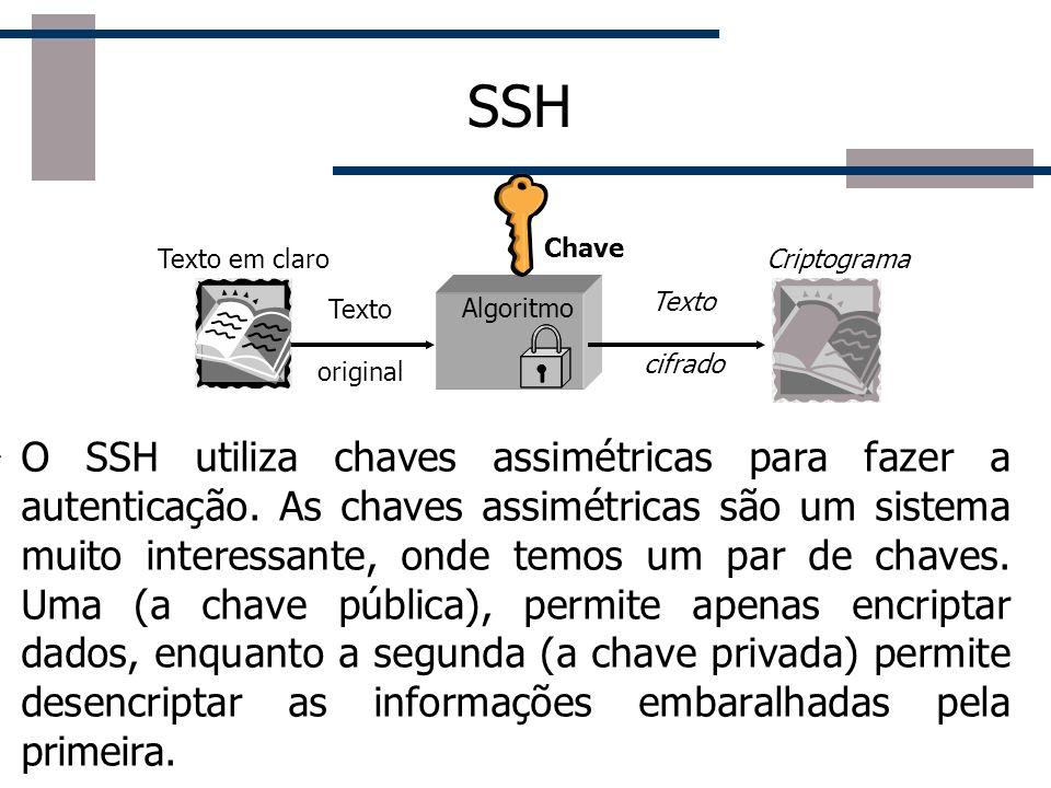 SSH O SSH utiliza chaves assimétricas para fazer a autenticação.