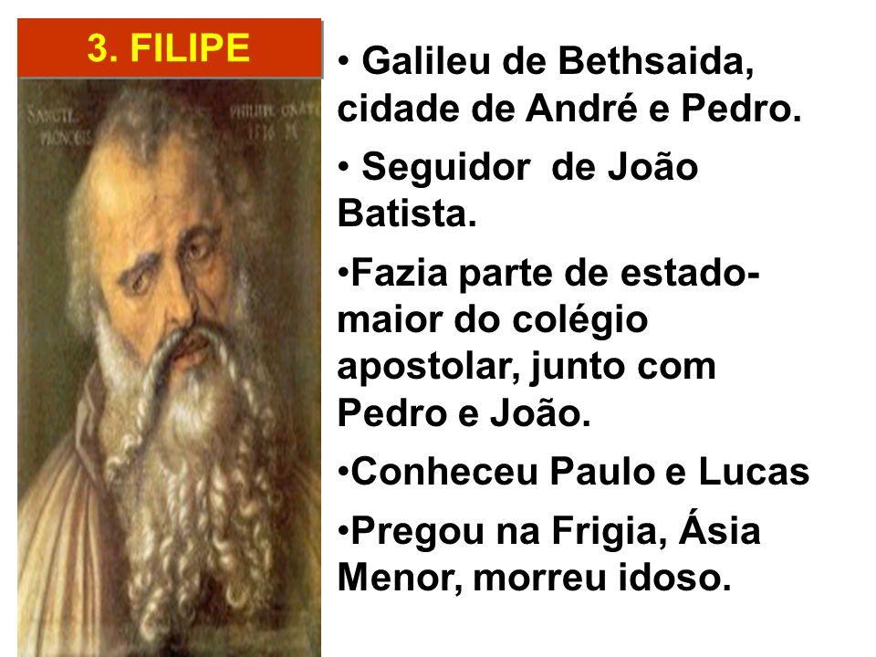 3. FILIPE Galileu de Bethsaida, cidade de André e Pedro. Seguidor de João Batista. Fazia parte de estado- maior do colégio apostolar, junto com Pedro