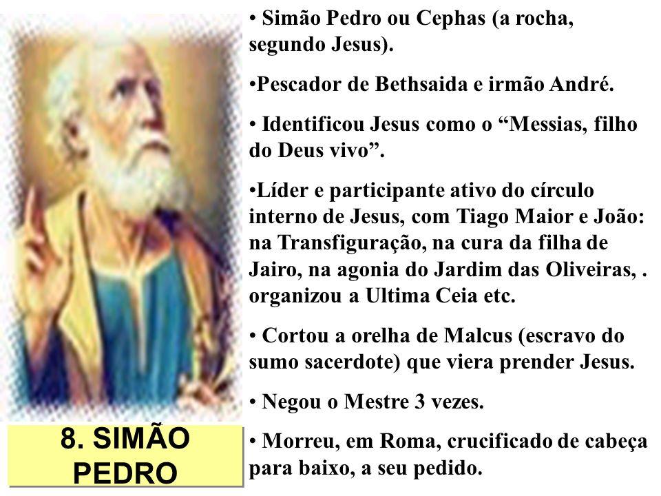 8. SIMÃO PEDRO Simão Pedro ou Cephas (a rocha, segundo Jesus). Pescador de Bethsaida e irmão André. Identificou Jesus como o Messias, filho do Deus vi