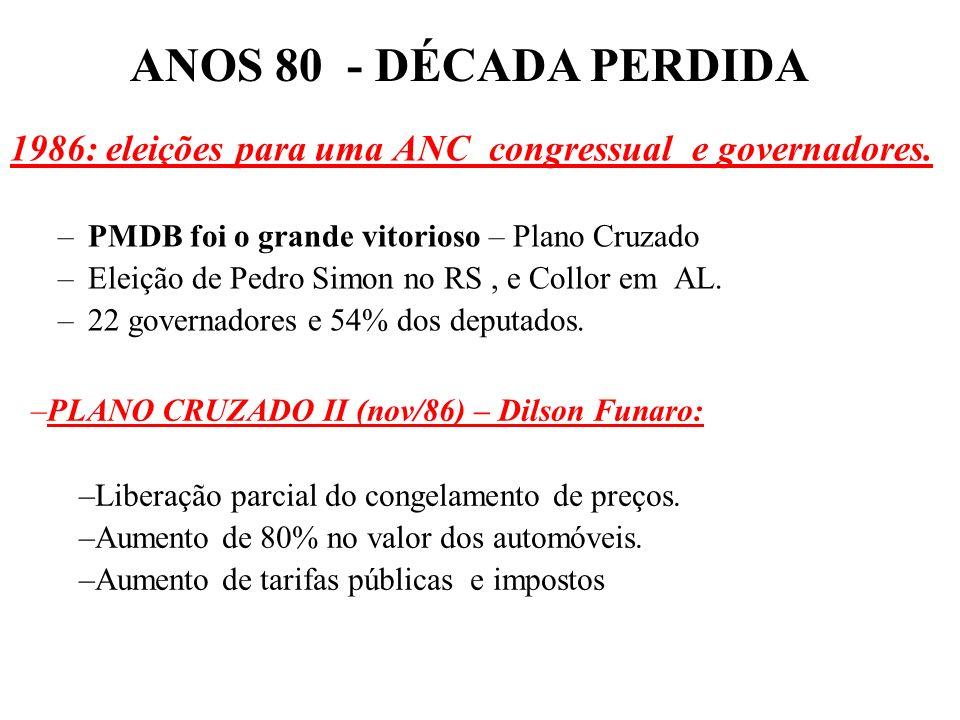 BRASIL REPÚBLICA (1889 – ) –1000 Cruzeiros = 1 Cruzado. –Congelamento de preços e salários (reajuste automático após inflação de 20% - gatilho salaria