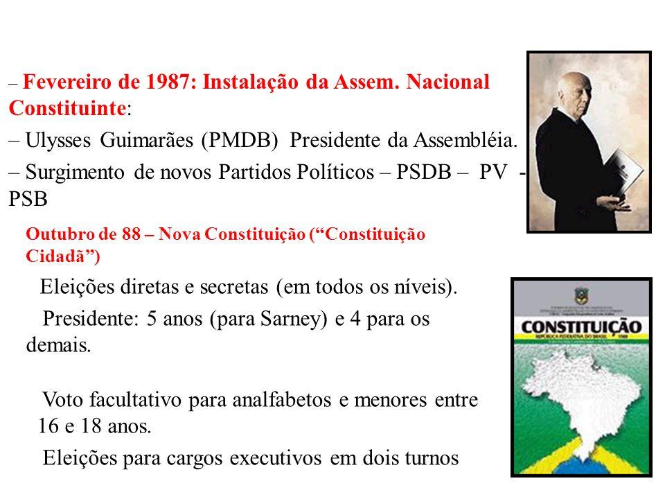 BRASIL REPÚBLICA (1889 – ) 1986: eleições para uma ANC congressual e governadores. –PMDB foi o grande vitorioso – Plano Cruzado –Eleição de Pedro Simo