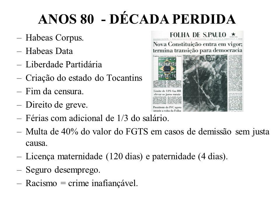 BRASIL REPÚBLICA (1889 – ) – Fevereiro de 1987: Instalação da Assem. Nacional Constituinte: – Ulysses Guimarães (PMDB) Presidente da Assembléia. – Sur