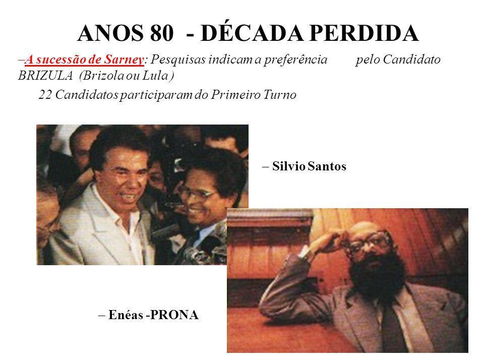 BRASIL REPÚBLICA (1889 – ) PLANO VERÃO (Jan/89) – Maílson da Nóbrega: Tentativa de Sarney de influenciar as Eleições Presidenciais –1000 Cruzados = 1
