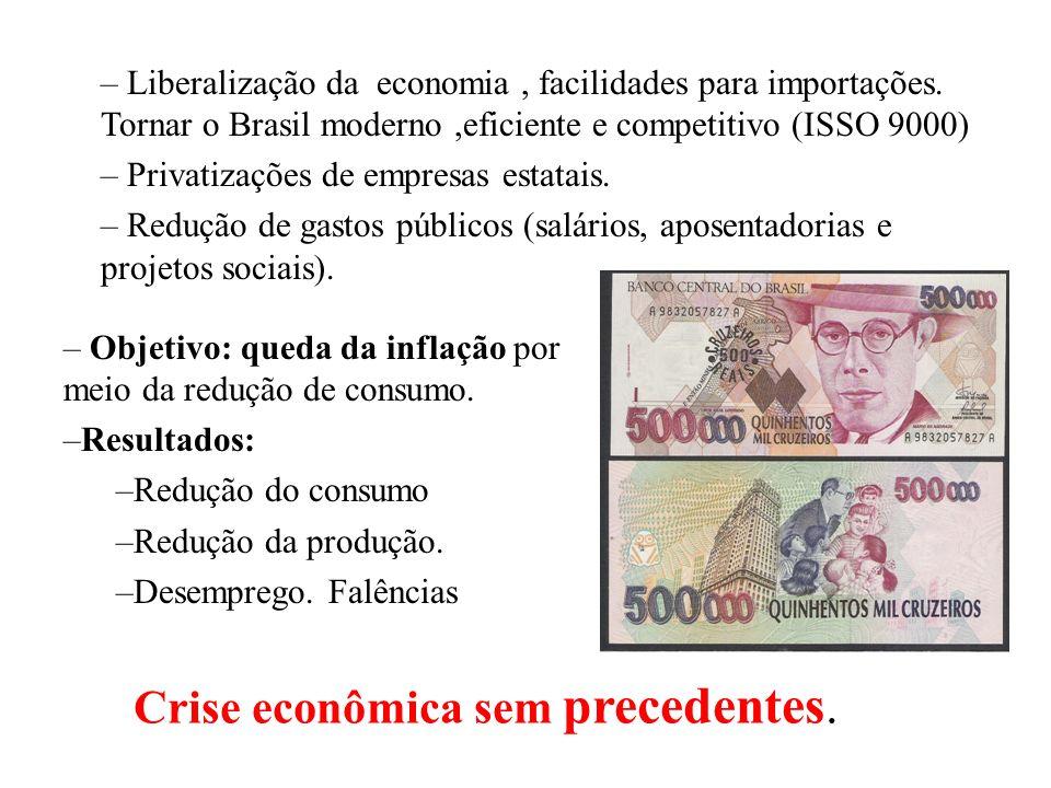 BRASIL REPÚBLICA (1889 – ) – PLANO COLLOR (mar/1990) – Zélia Cardoso de Mello: – Início efetivo do neoliberalismo no Brasil. –1 Cruzado Novo = 1 Cruze