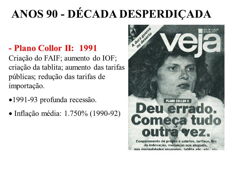 BRASIL REPÚBLICA (1889 – ) – Liberalização da economia, facilidades para importações. Tornar o Brasil moderno,eficiente e competitivo (ISSO 9000) – Pr