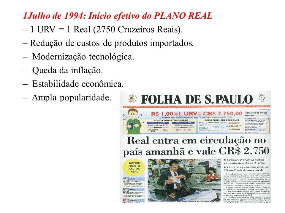 BRASIL REPÚBLICA (1889 – ) Agosto de 1993: FHC assume o Ministério da Fazenda. –1000 Cruzeiros = 1 Cruzeiro Real. –Criação da URV (aproximadamente 1 d
