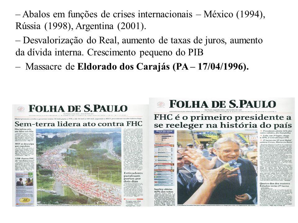 BRASIL REPÚBLICA (1889 – ) O governo FERNANDO HENRIQUE CARDOSO (1995 – 2003): PSDB + PFL + PTB + PPB. – Tentativa de manutenção da estabilidade políti