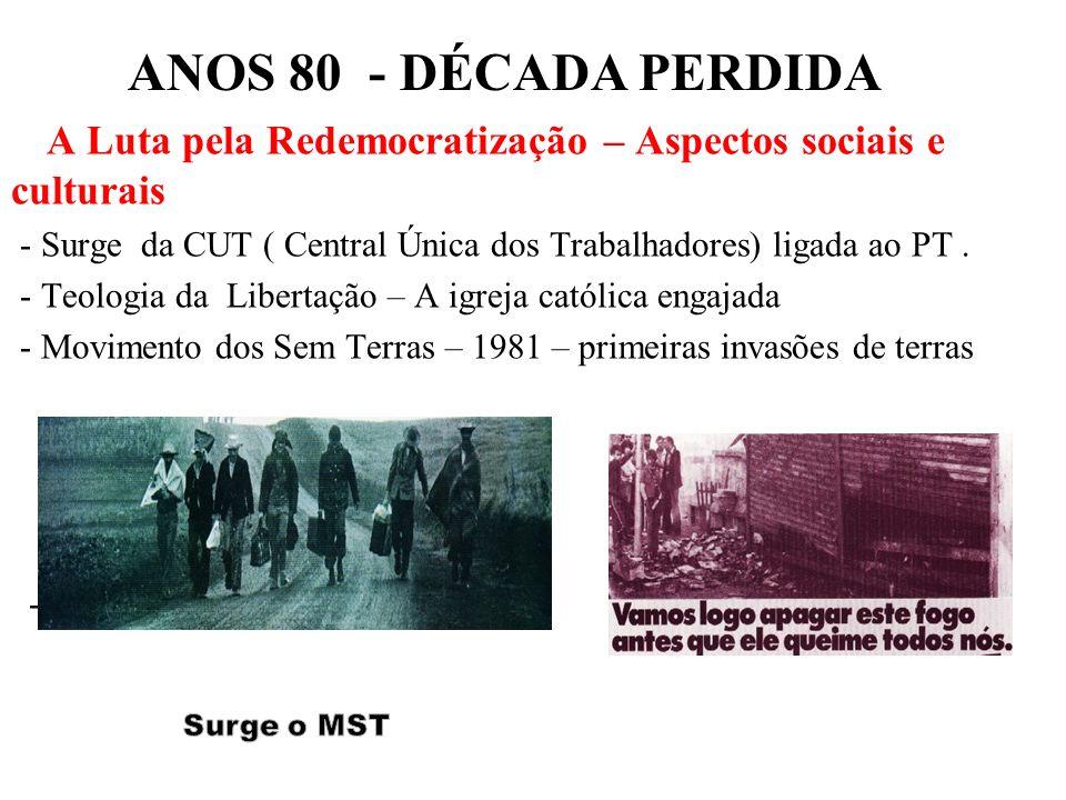BRASIL REPÚBLICA (1889 – ) A Luta pela Redemocratização – Aspectos sociais e culturais - Surge da CUT ( Central Única dos Trabalhadores) ligada ao PT.