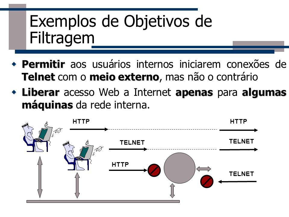 Permitir Telnetmeio externo Permitir aos usuários internos iniciarem conexões de Telnet com o meio externo, mas não o contrário Liberarapenasalgumas m