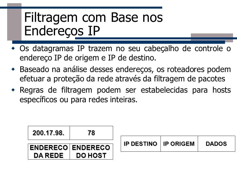 Filtragem com Base nos Endereços IP Os datagramas IP trazem no seu cabeçalho de controle o endereço IP de origem e IP de destino. Baseado na análise d