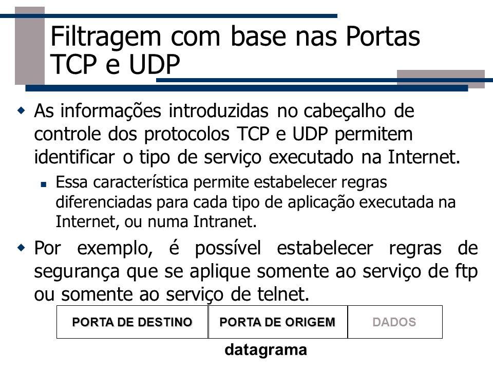 Filtragem com base nas Portas TCP e UDP As informações introduzidas no cabeçalho de controle dos protocolos TCP e UDP permitem identificar o tipo de s