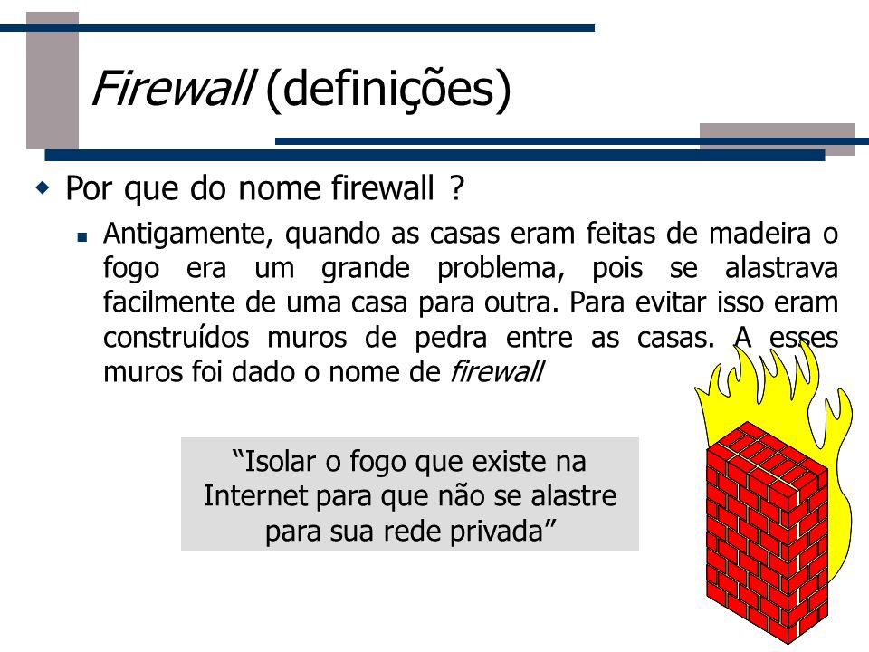 Por que do nome firewall ? Antigamente, quando as casas eram feitas de madeira o fogo era um grande problema, pois se alastrava facilmente de uma casa