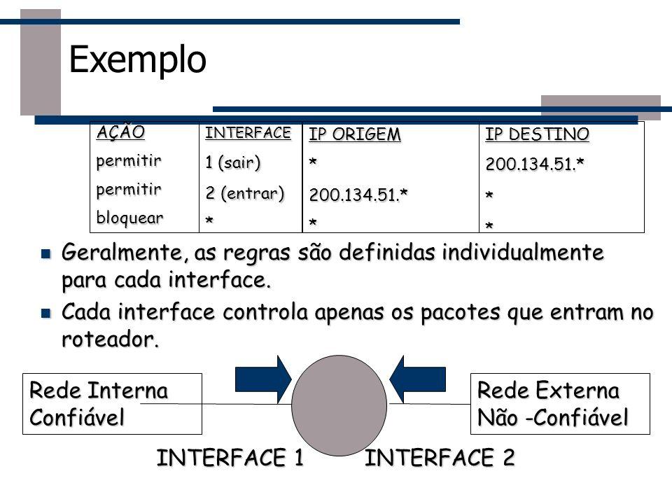 Exemplo Geralmente, as regras são definidas individualmente para cada interface. Geralmente, as regras são definidas individualmente para cada interfa