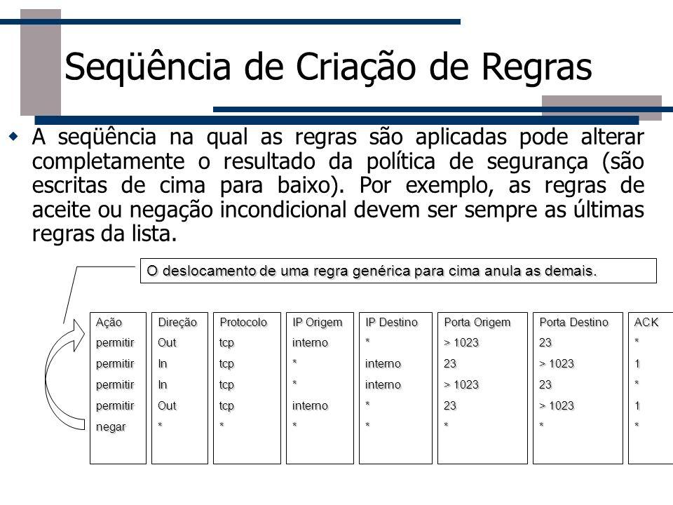 Seqüência de Criação de Regras A seqüência na qual as regras são aplicadas pode alterar completamente o resultado da política de segurança (são escrit