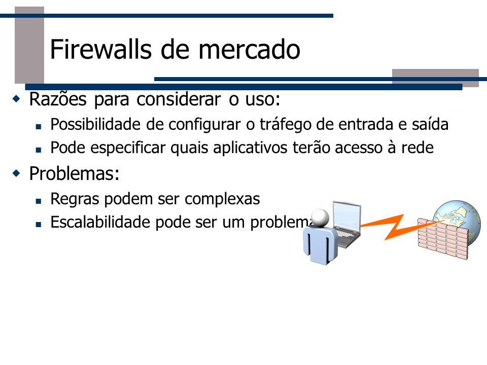 Razões para considerar o uso: Possibilidade de configurar o tráfego de entrada e saída Pode especificar quais aplicativos terão acesso à rede Problema