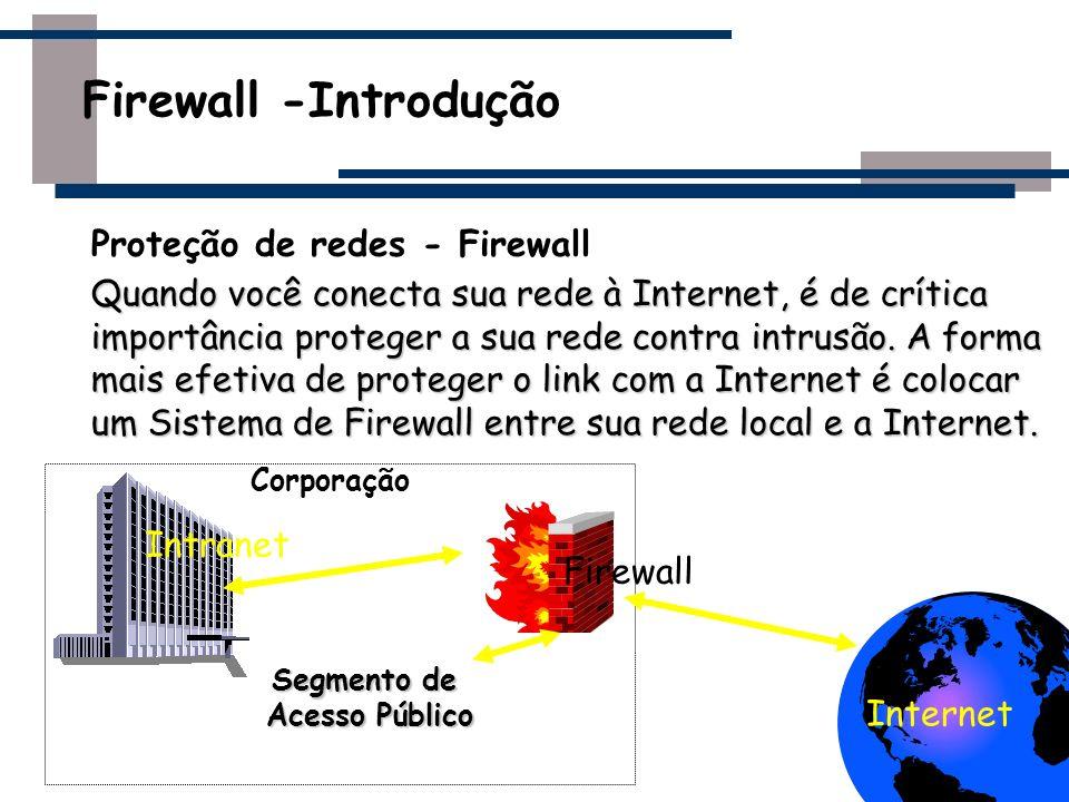 Melhores práticas para clientes firewall Todo o tráfego deve passar pelo firewall Uso eficaz de Firewall A simples instalação de um firewall não garante que sua rede esteja segura contra invasores Não pode ser a sua única linha de defesa Protegem apenas contra ataques externos ao firewall