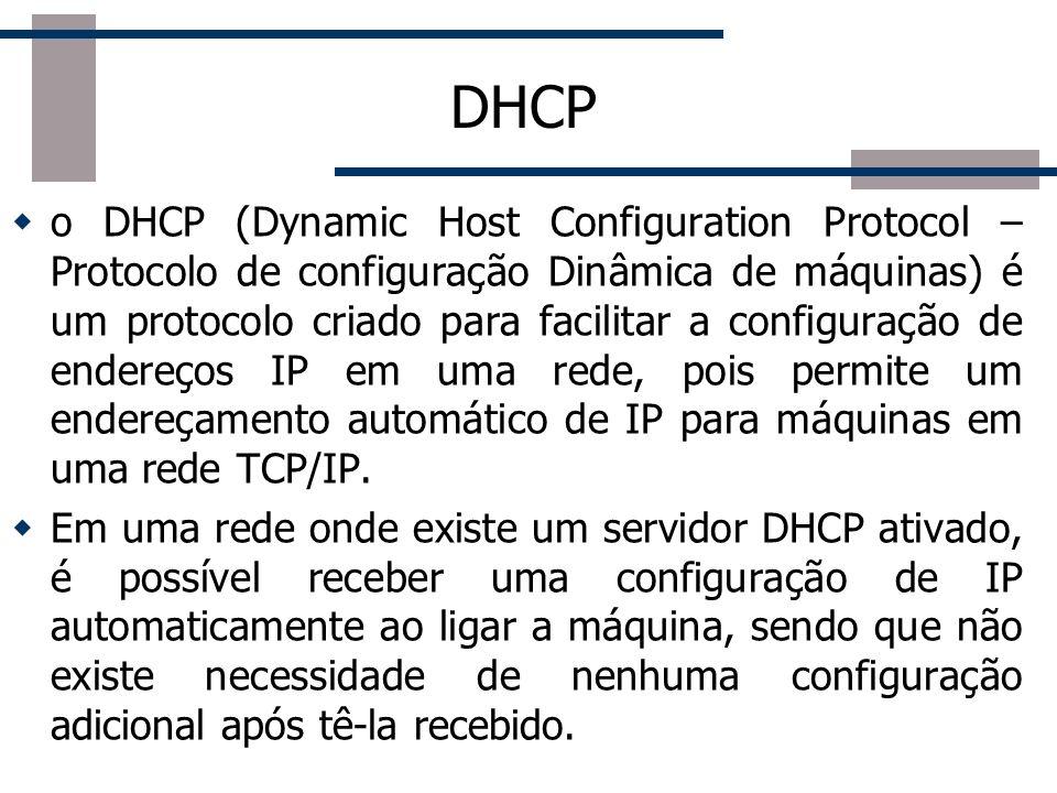 DHCP Funcionamento do protocolo 1) O cliente DHCP envia um pacote broadcast para a rede chamado DHCP DISCOVER.