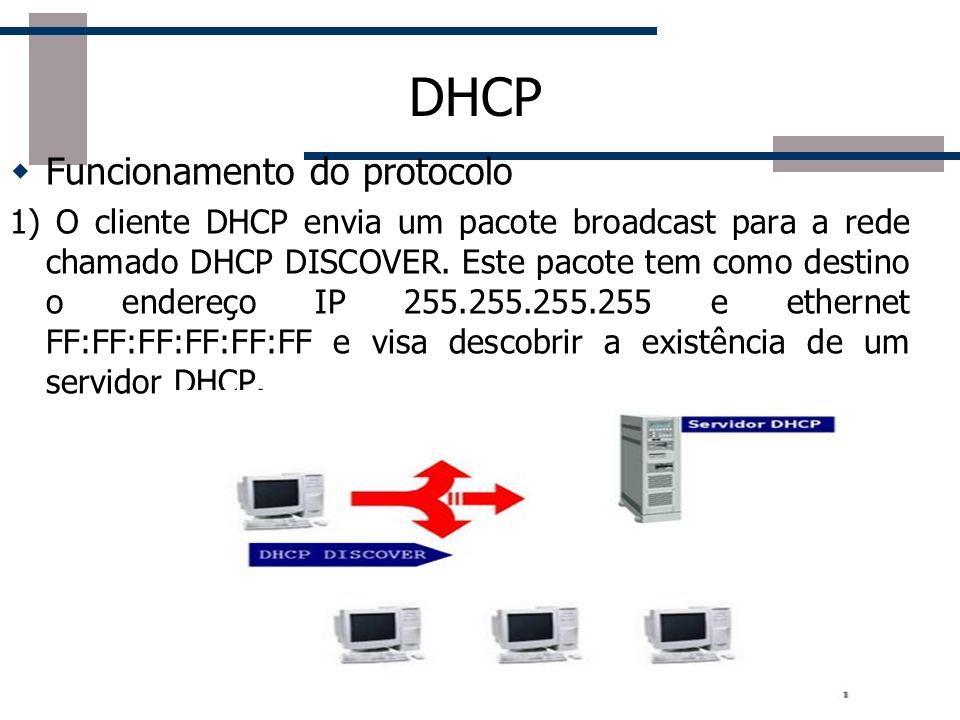 DHCP Funcionamento do protocolo 1) O cliente DHCP envia um pacote broadcast para a rede chamado DHCP DISCOVER. Este pacote tem como destino o endereço