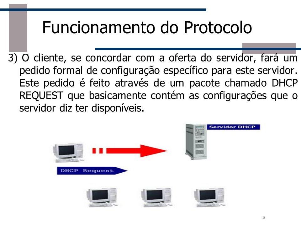 Funcionamento do Protocolo 3) O cliente, se concordar com a oferta do servidor, fará um pedido formal de configuração específico para este servidor. E