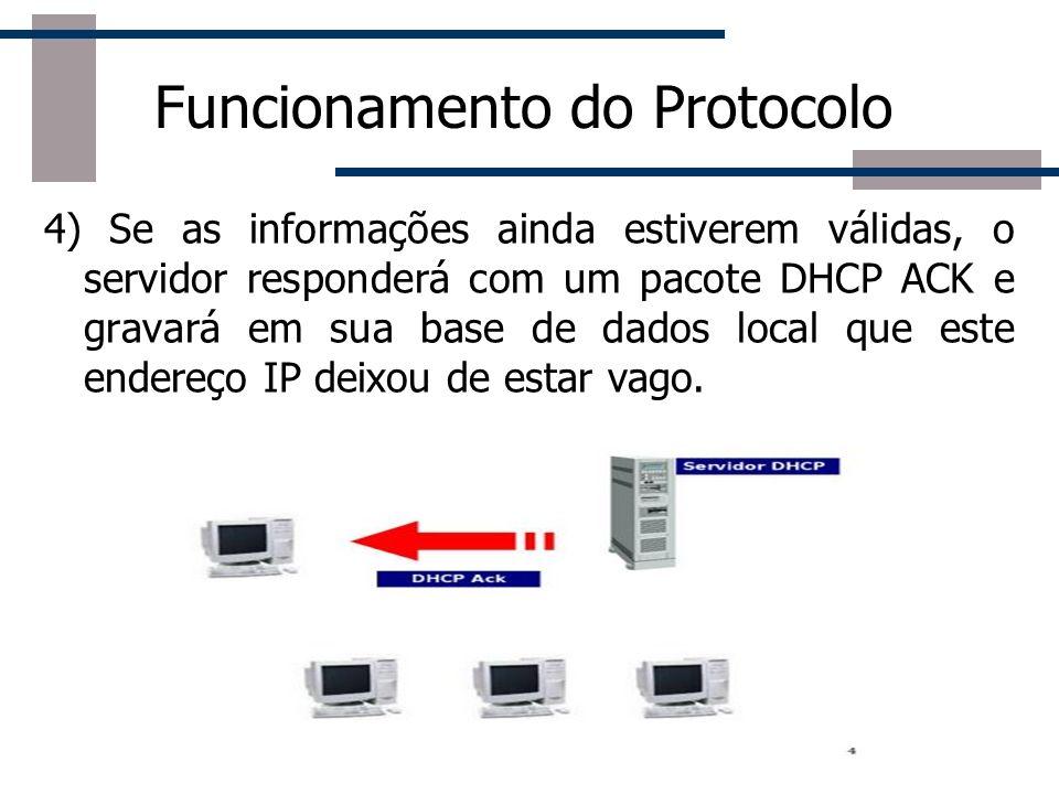 Funcionamento do Protocolo 4) Se as informações ainda estiverem válidas, o servidor responderá com um pacote DHCP ACK e gravará em sua base de dados l