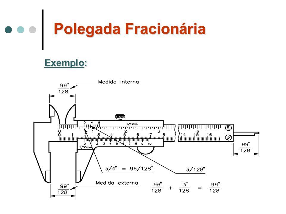 Polegada Fracionária Exemplo: