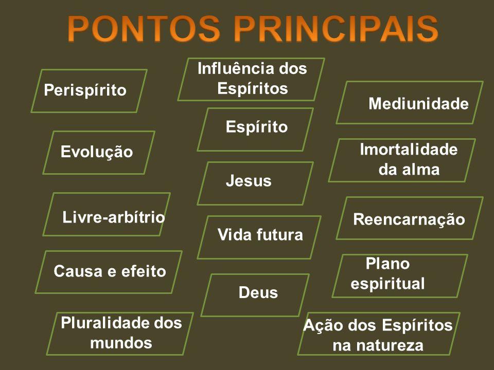 Causa e efeito Deus Jesus Espírito Perispírito Evolução Livre-arbítrio Pluralidade dos mundos Imortalidade da alma Vida futura Plano espiritual Mediun