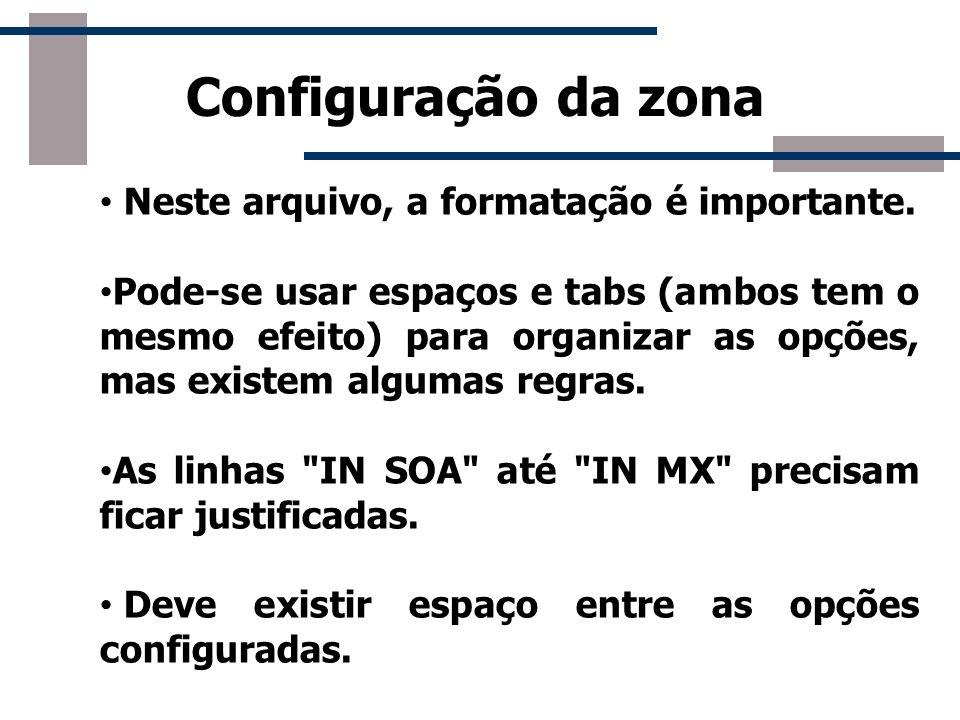Configuração da zona Neste arquivo, a formatação é importante. Pode-se usar espaços e tabs (ambos tem o mesmo efeito) para organizar as opções, mas ex
