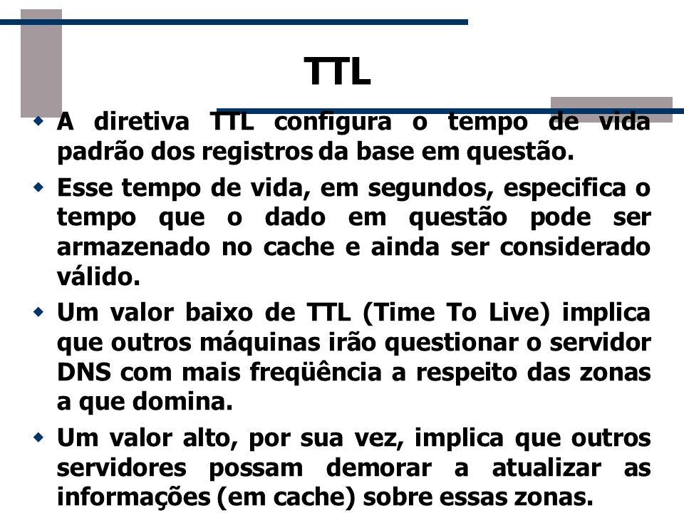 TTL A diretiva TTL configura o tempo de vida padrão dos registros da base em questão. Esse tempo de vida, em segundos, especifica o tempo que o dado e