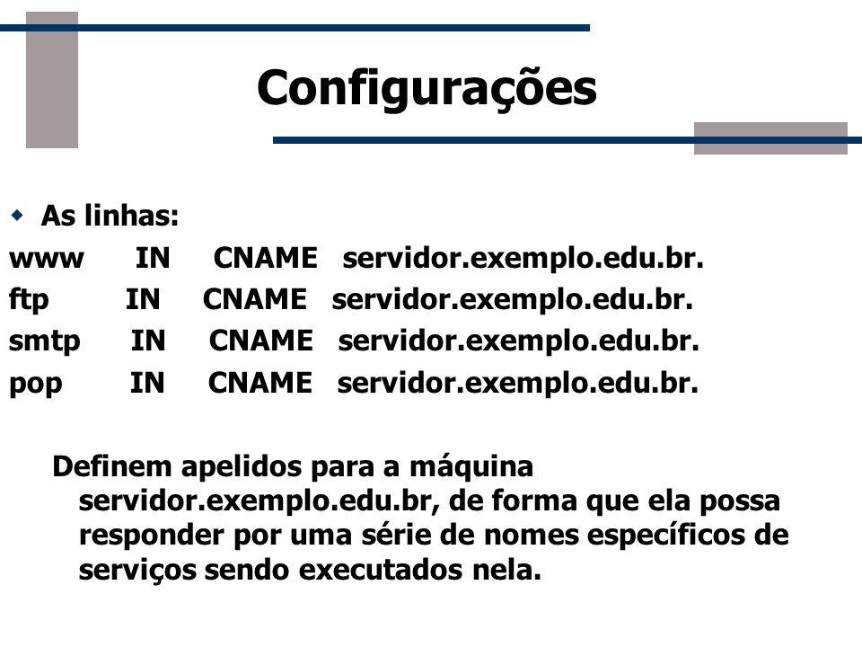 Configurações As linhas: www IN CNAME servidor.exemplo.edu.br. ftp IN CNAME servidor.exemplo.edu.br. smtp IN CNAME servidor.exemplo.edu.br. pop IN CNA