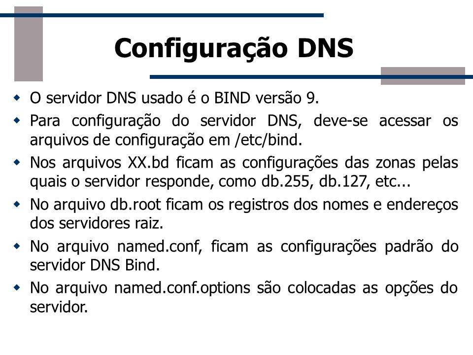 Configuração DNS O servidor DNS usado é o BIND versão 9. Para configuração do servidor DNS, deve-se acessar os arquivos de configuração em /etc/bind.