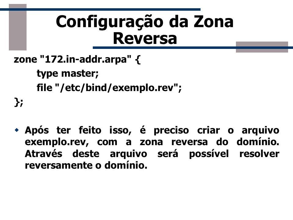 Configuração da Zona Reversa zone
